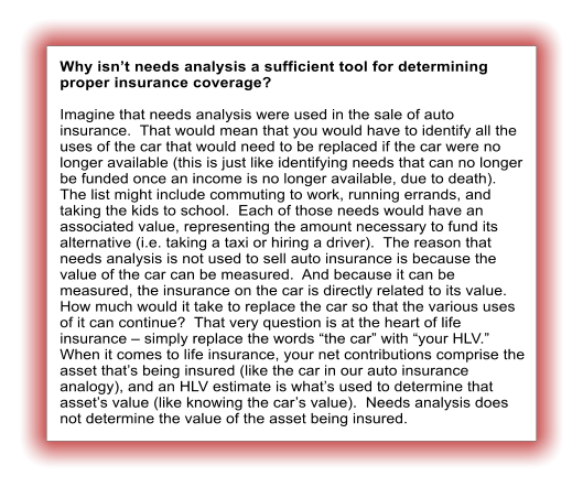 "Why isn't needs analysis a sufficient tool for determining proper insurance coverage?  Imagine that needs analysis were used in the sale of auto insurance.  That would mean that you would have to identify all the uses of the car that would need to be replaced if the car were no longer available (this is just like identifying needs that can no longer be funded once an income is no longer available, due to death).  The list might include commuting to work, running errands, and taking the kids to school.  Each of those needs would have an associated value, representing the amount necessary to fund its alternative (i.e. taking a taxi or hiring a driver).  The reason that needs analysis is not used to sell auto insurance is because the value of the car can be measured.  And because it can be measured, the insurance on the car is directly related to its value.  How much would it take to replace the car so that the various uses of it can continue?  That very question is at the heart of life insurance – simply replace the words ""the car"" with ""your HLV.""  When it comes to life insurance, your net contributions comprise the asset that's being insured (like the car in our auto insurance analogy), and an HLV estimate is what's used to determine that asset's value (like knowing the car's value).  Needs analysis does not determine the value of the asset being insured."