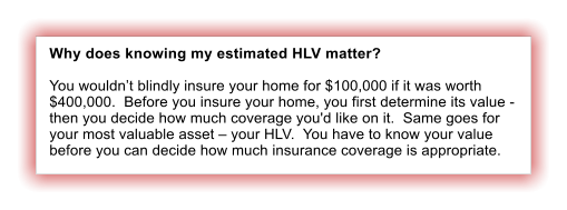 Why does knowing my estimated HLV matter?  You wouldn't blindly insure your home for $100,000 if it was worth $400,000.  Before you insure your home, you first determine its value - then you decide how much coverage you'd like on it.  Same goes for your most valuable asset – your HLV.  You have to know your value before you can decide how much insurance coverage is appropriate.