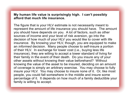 My human life value is surprisingly high.  I can't possibly afford that much life insurance.  The figure that is your HLV estimate is not necessarily meant to represent the amount of life insurance you should have.  The amount you should have depends on you.  A lot of factors, such as other sources of income and your level of risk aversion, go into the decision of how much of your HLV you would like to cover with life insurance.  By knowing your HLV, though, you are equipped to make an informed decision.  Many people choose to self-insure a portion of their HLV.  In exchange for lower cost (i.e., buying less life insurance), they are willing to accept a lower standard of living for their family in the event of their death.  Do you insure any of your other assets without knowing their value beforehand?  Without knowing the value of the asset to be insured, deciding on an amount of coverage is simply an arbitrary exercise.  You may choose to fully insure your HLV.  You may choose to insure none of it.  Or, like most people, you could fall somewhere in the middle and insure some percentage of it.  It depends on how much of a family deductible your family is willing to accept.