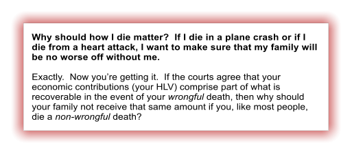Why should how I die matter?  If I die in a plane crash or if I die from a heart attack, I want to make sure that my family will be no worse off without me.  Exactly.  Now you're getting it.  If the courts agree that your economic contributions (your HLV) comprise part of what is recoverable in the event of your wrongful death, then why should your family not receive that same amount if you, like most people, die a non-wrongful death?